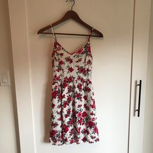 H&M White and Red Floral Dress